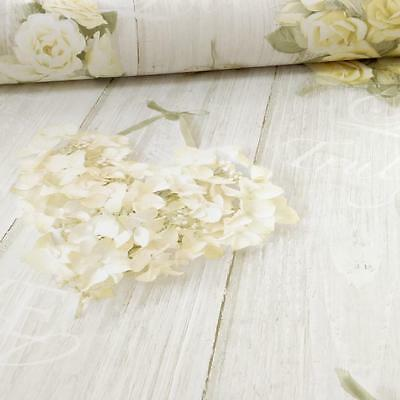 Grandeco Ideco Vintage Hearts Wood Beam Rose Floral Motif Wallpaper Cream