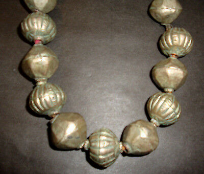 Old to Antique Ethiopian Necklace 215 Grams 13 Large Silver Metal Beads Wax Core