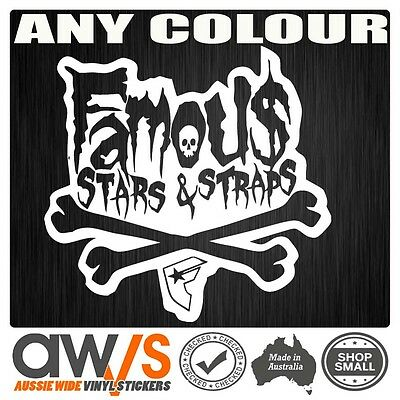 Famous Stars and Straps Sticker Decal For Car Large Unit 4x4 4wd Surf Skate MOTO