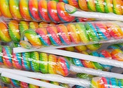 Rainbow Twist Long Stick Lollipops X48