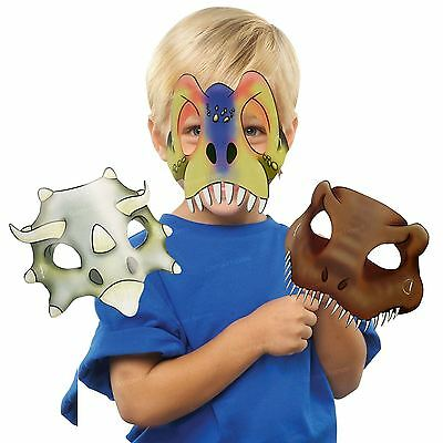 8x Dinosaur Dino Girls Boys Children Card Mask Party Favour T-Rex Triceratops BN