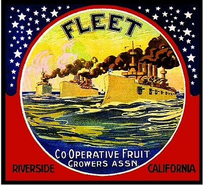 Riverside Navy Fleet Battle Ships Orange Citrus Fruit Crate Label Art Print