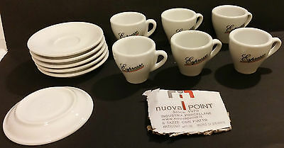 Set Of 6 Nuova Point Porcelain Espresso Cups & Saucers - Italy