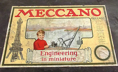 Antique 1916 Meccano Erector Set Metal Engineering Toy 150+ Pc Instruction Box