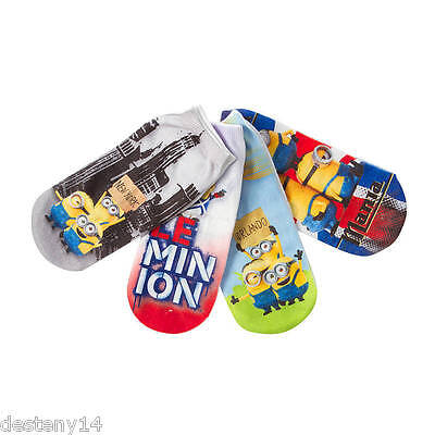 Despicable Me Minions 4 Pair Pack Socks Size 9-11 Minion Mania New York London
