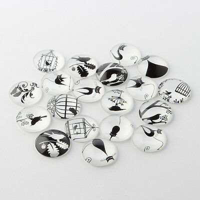 10 x Retro Black and White Picture Glass Cabochons, 12x4mm