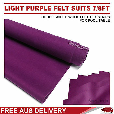 Purple Double-Sided Wool Pool Snooker Table Cloth + 6 X Strips Suit 7Ft 8Ft