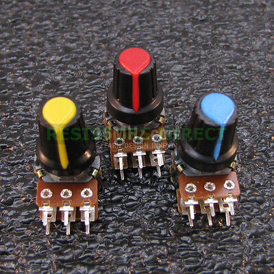 3x 50K OHM Linear Taper Dual Gang Rotary Potentiometers B50K Black Knob 3pcs U34