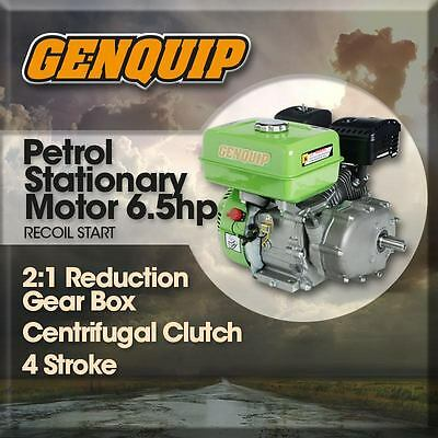 NEW 6.5HP NEW GENQUIP PETROL ENGINE with 2:1 REDUCTION BOX & CLUTCH