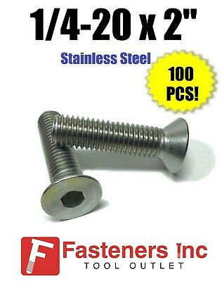 "(Qty 100) 1/4-20 x 2"" Flat Head Socket Cap Screw 18-8 Stainless Steel 304"