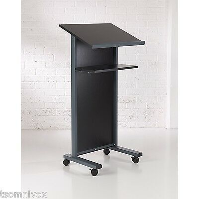 BLACK Effect Lectern - Portable 2 locking castors, tilted top shelf & 2nd shelf