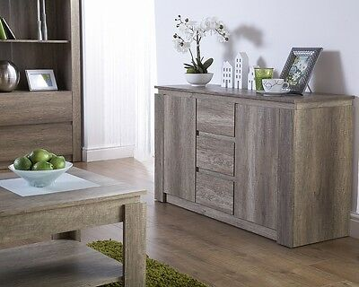 Unique Exclusive Canyon Oak 3D Finish 3 Drawers & 2 Door Storage Sideboard Furn.