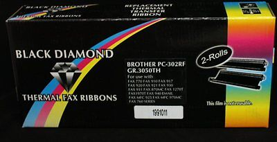 Black Diamond Thermal Fax Ribbons for Brother PC-302RF G.R 3050TH 2 Rolls E9G