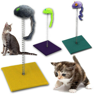 Cat Scratch Pole Kitty Kitten Spiral Sway Play Activity Teaser Toy Post Mouse