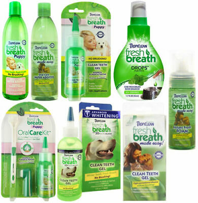 Tropiclean Fresh Breath Oral Hygiene Teeth Clean Dog Cat Water Additive Gel Foam