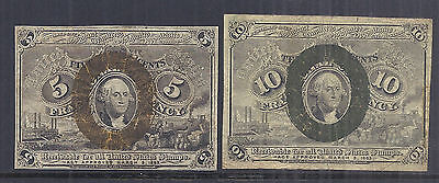 1863 US Fractional Currency Lot of 2, 5c 1232 & 10c 1244 - Circulated*