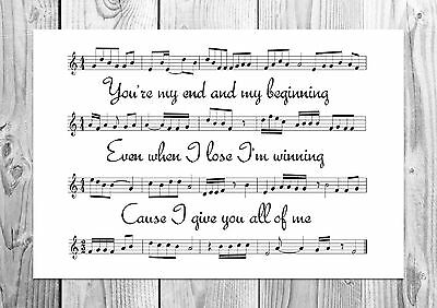 John Legend - All Of Me - Song Sheet Poster - Unique Art