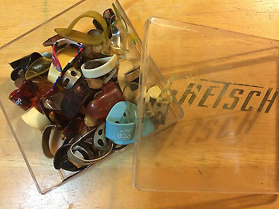 Lap Steel Picks from National, Grover, Roy Smeck, plus slides in Gretsch box