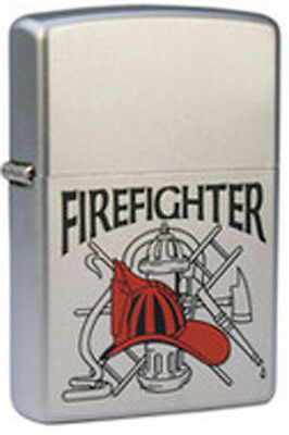 American Heros Firefighter Emblem and Tools of the Trade Chrome Zippo Lighter