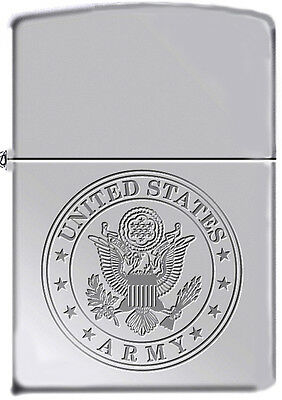 US Army Officially Licensed Insignia Military High Polish Chrome Zippo Lighter