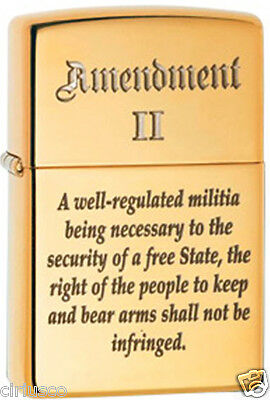 2nd Amendment Right to Bear Arms Laser Engraved Patriotic Brass Zippo Lighter