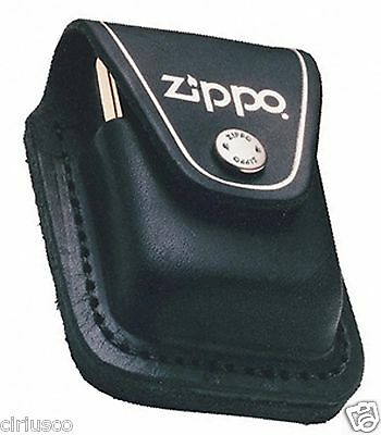 Genuine Black Leather Zippo lighter Pouch with Belt Clip