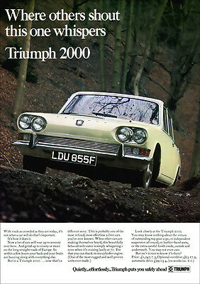 Triumph 2000 Saloon Retro A3 Poster Print From 60's Advert