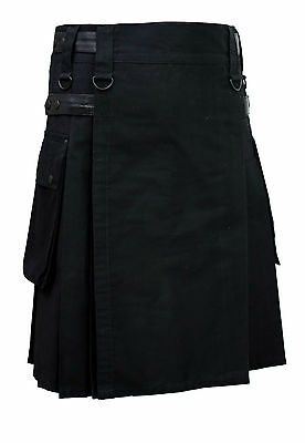 Men Black Leather Straps Fashion Sport Utility Kilt Deluxe Kilt Adjustable Sizes
