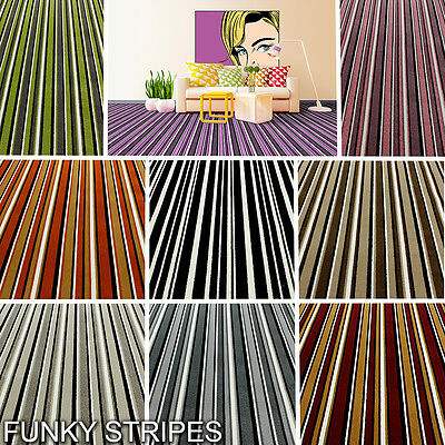 High Quality Twist Pile Carpet, Colourful Modern Striped Designs - NEW! 4M Width