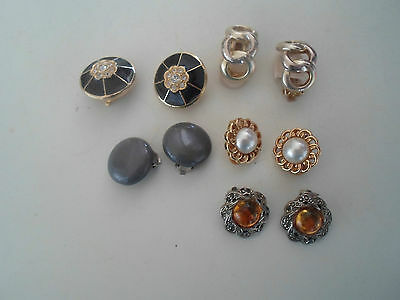 5 Pairs of Vintage Pretty Clip On Retro Earrings  - Party/Stage Wear ~ Props ##1