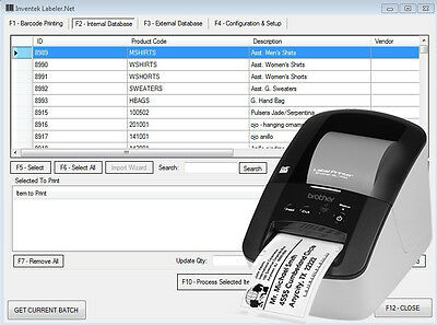 Inventek Barcode Labeling System with Software and Hardware Brother printer