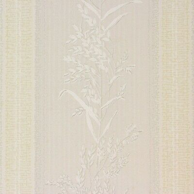 1930's Antique Vintage Wallpaper White Wheat Stems on Gray Yellow Stripe