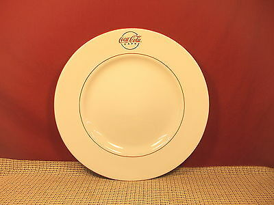 "Gibson Dinnerware Coca Cola Cafe Diner Pat. Large  Dinner Plate 11 1/2"" Red Trim"