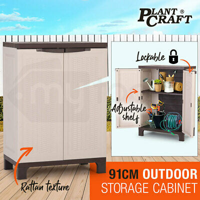 NEW PLANTCRAFT Lockable Outdoor Storage Cabinet - Cupboard Garage Shed Carport
