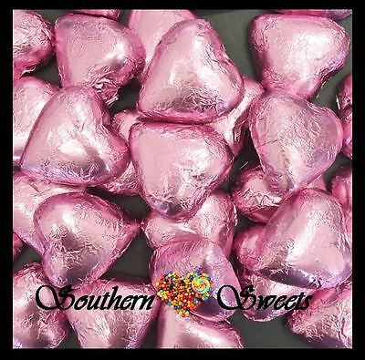 1Kg Baby Pink Foiled Hearts Milk Chocolate Baby Pink Lollies Choc Candy Buffet