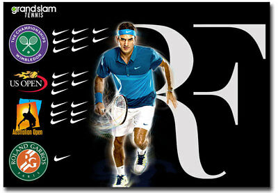 "Roger Federer 20 Grand Slam Greatest Tennis Fridge Magnet Size 3.5"" x 2.5"""