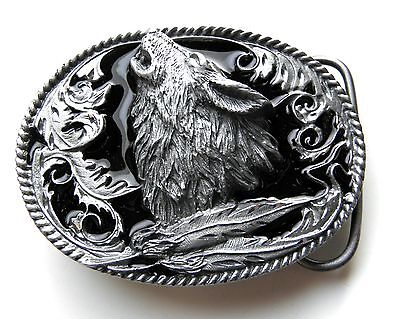 Howling Wolf & Feather 3-D Pewter Enamel Fine Finish Belt Buckle 3 X 2.25 Inches