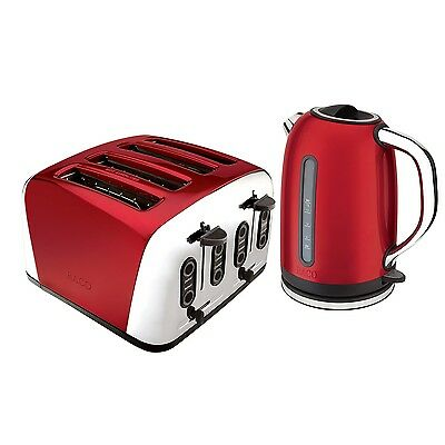 RACO Deco 4 Slice Toaster and Electric Kettle Red NEW