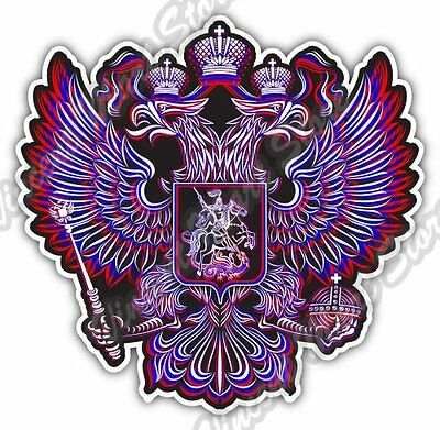 "Russia Coat Of Arms Russian Tricolor Flag Car Bumper Vinyl Sticker Decal 4""X5"""