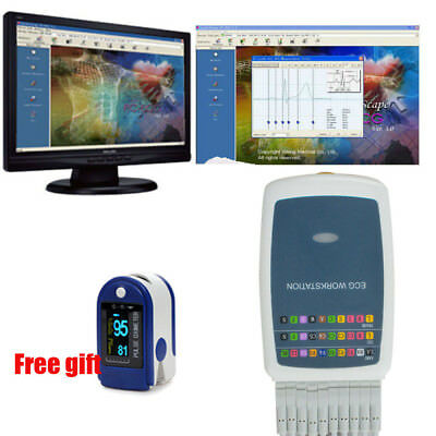 Multi-functiona​l 12-lead Resting PC ECG EKGs System Workstation Software USB SL