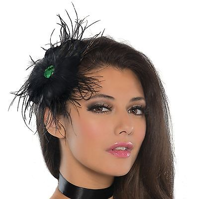 Black Gothic Raven Feather Fascinator On Hairclip Womens Fancy Dress Steampunk