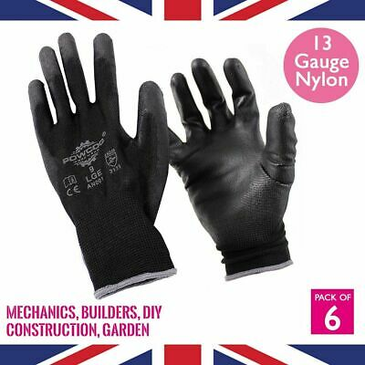 6 x Pairs PU Safety Work Gloves PPE | BLACK | Gardening Mechanic Warehouse DIY