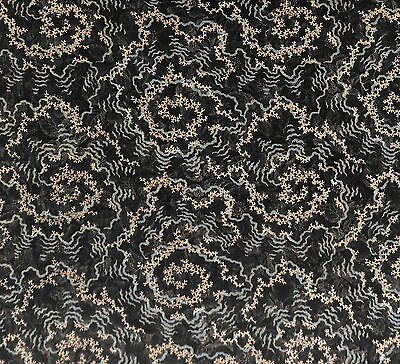 Antique 1890 Black, Light Blue and Ivory Coral Vermicular Fabric