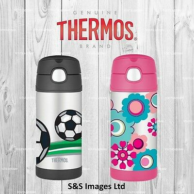 Thermos FUNtainer Stainless Steel Straw Water Bottle Floral Pink Football 355ml