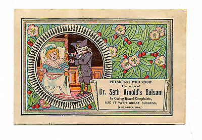 Victorian Trade Card  DR SETH ARNOLDS BALSAM remedy Sick Girl in bed