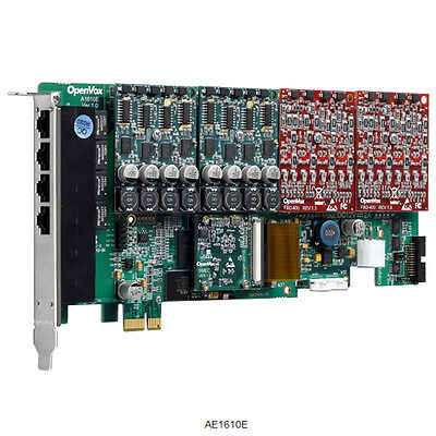 OpenVox AE1610E00 16 Port Analog PCIe card base board (without modules) + SP143