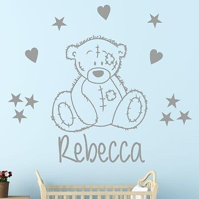 CUTE bear wall sticker decal with personalised name | TATTY BEAR TEDDY| K19