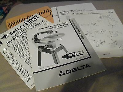 "Instruction Manual-Replacement Parts DELTA 18"" Variable Speed Scroll Saw 40-650"