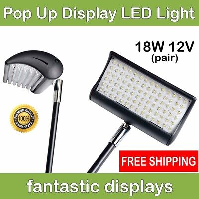 18W LED Spotlight for Tension Fabric Pop Up Accordion Style Frames - 2 Lights