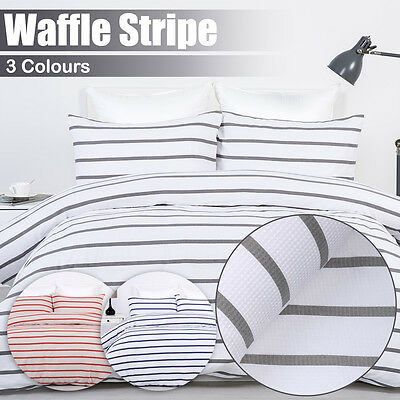 100% Cotton 600TC Waffle Stripe Quilt Duvet Cover Set-Red/Grey/Navy - All Sizes